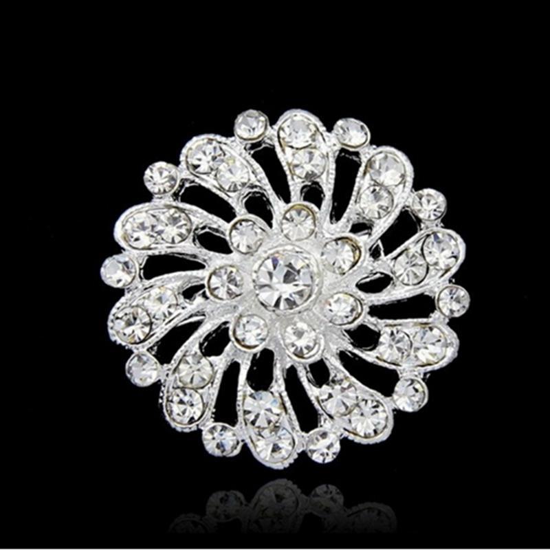 silver rhinestone brooch big brooches pins crystal Flower brooches wedding gift woman fashion jewelry