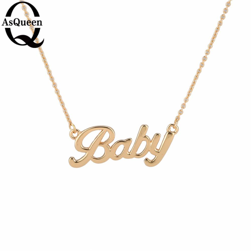 d0fd82349448a Tiny Gold Necklace Gold Letter Baby Pendant Necklaces For Women Girls  Lovers Best Birthday Gift