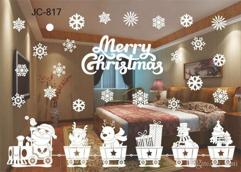 Hot Home Festive Christmas Snowman Removable Home Vinyl Window Wall Stickers Decal Decor Christmas Transparent window Wallpaper Shop