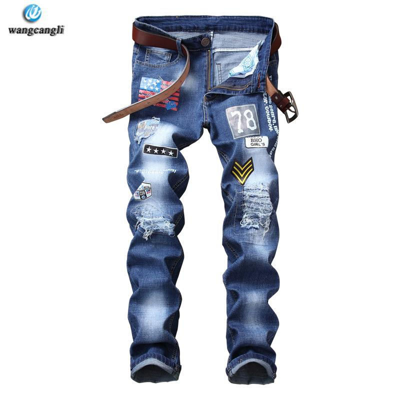2a64d6a38c5c 2108 Blue Beggar Large Size Casual Badged Mens Printed Jeans Ripped ...