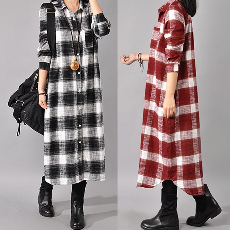 1b47a18f2589 Women Retro Casual Loose Plaid Long Sleeve Button Down Pockets Shirt Dress  Plus Size S 5XL Sundresses On Sale Teenage Party Dresses From Augusss, ...
