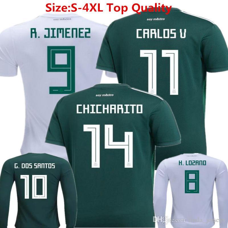 México 2018 Copa Del Mundo De Fútbol Jersey Chicharito Camiseta De Fútbol  Lozano Dos Santo C.VELA América Verde De Manga Larga Camisetas Niños Mujer  ... 0ebd05aa092d0
