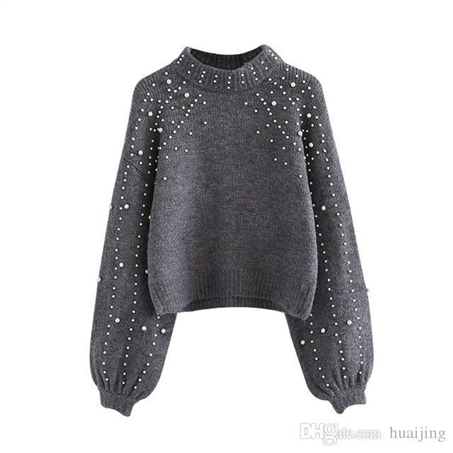 5f5c4a4d1ce2 Pearl Beaded Rib Knit Jumper Winter Sweater Womens Pullover Sweaters ...