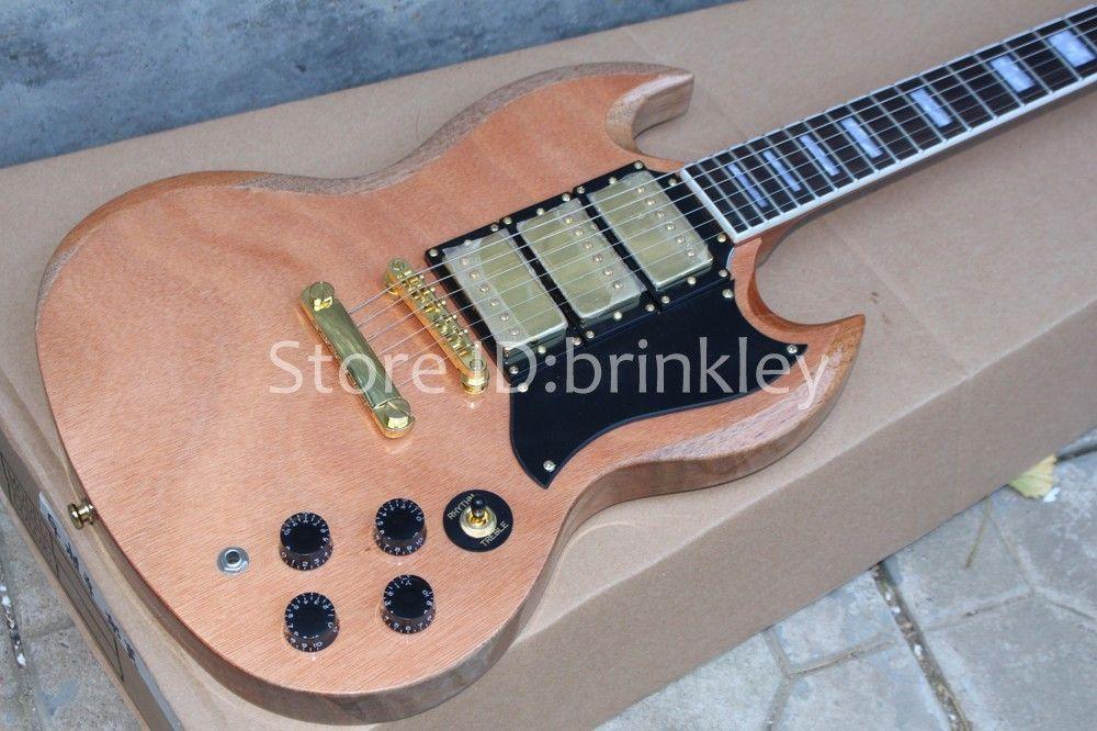 Brinkley moderna costumbre fade color natural guitarra eléctrica Angus Young firma AC / DC Inlay guitarra, envío gratis