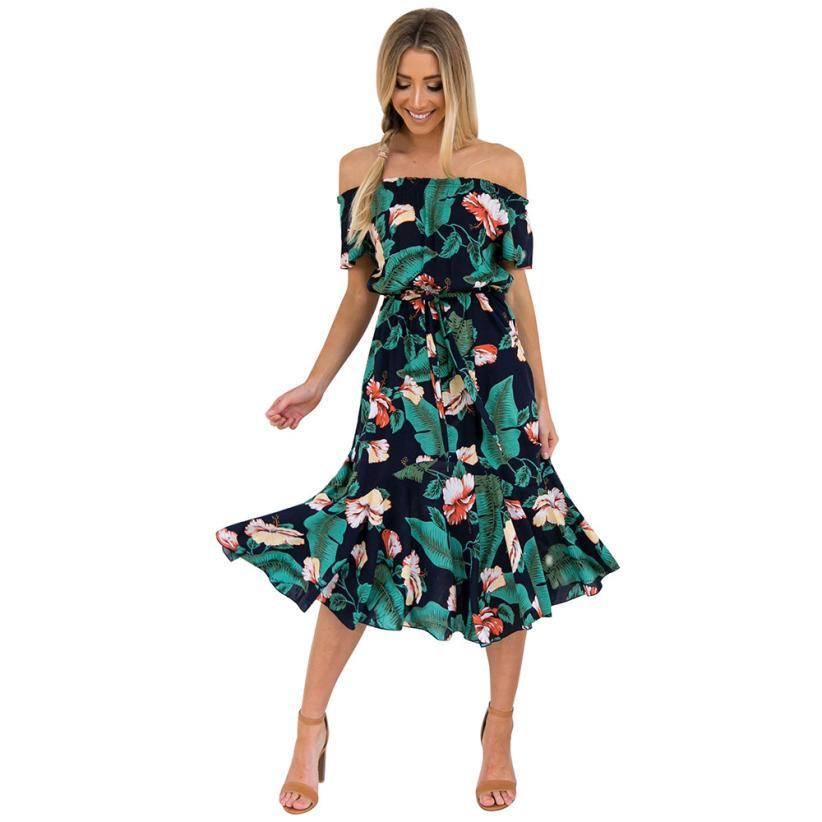 a64de553fb8 ELegant Women S Floral Printed Dress Bohemian Style Ladies Sheath Dress  Casual Maxi Party Cocktail Beach Dress Sundress Vestidos Summer White Maxi  Dress ...