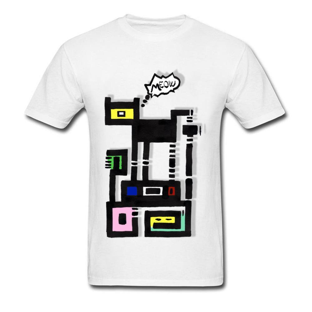 Compre Urban Cat Meow Diseño De Dibujos Animados Lindo Camisetas Para  Hombres Dibujo Simple Adultos Camiseta Blanca Estilo Casual Cuello  Divertido Camisetas ... 8126b0ba0b99f