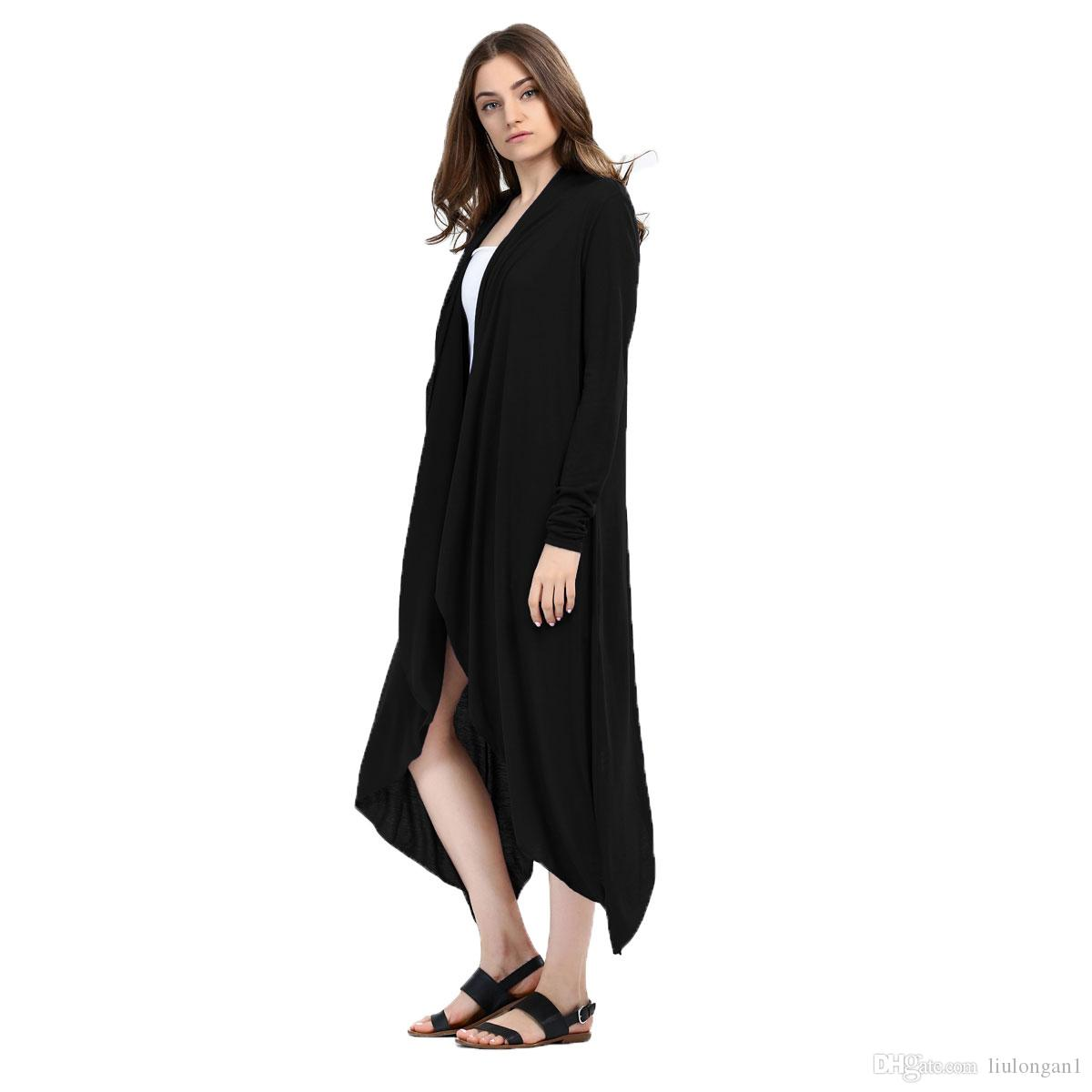 2018 New Autumn Winter Women Long Sleeve Solid Knitted Cardigan Elegant Irregualr Cardigan Women Long Poncho Femme Plus Size