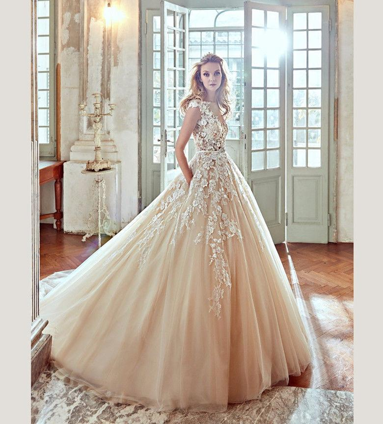 2018 Nicole Champagne Lace Wedding Dresses With Lace Appliques ...