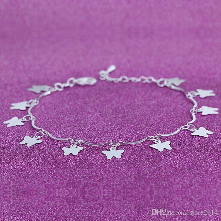 2018 New Foot Jewelry Anklets Hot Sale Silver Anklet Link Chain For Women Girl Foot Bracelets Fashion Jewelry Wholesale