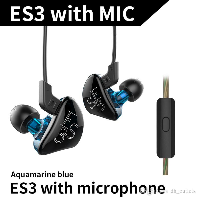 2018 new arrival KZ ES3 Balanced Armature With Dynamic Hybrid Driver Noise  Cancelling Headset With Mic Free shipping