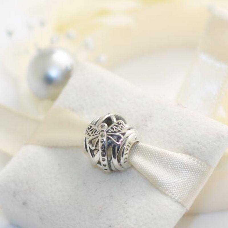 925 Sterling Silber Dreamy Libelle Charm Bead mit klaren CZFits europäischen Pandora Style Schmuck Armbänder Halskette