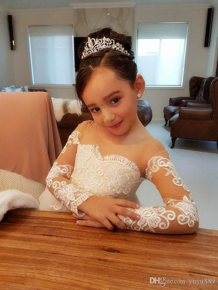 Платья для девочек-цветочниц на свадьбу с открытой горловиной и длинными рукавами Аппликация Кружева из тюля Детские свадебные платья Платье для девочек Pageant