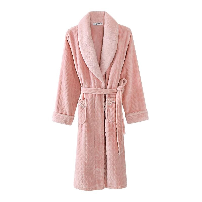 5e1fbcf417 2019 Bath Robe Women Winter Warm Coral Fleece Women S Bathrobe Nightgown  Kimono High Quality Plus Size Dressing Gown Sleepwear Female From Guchen3