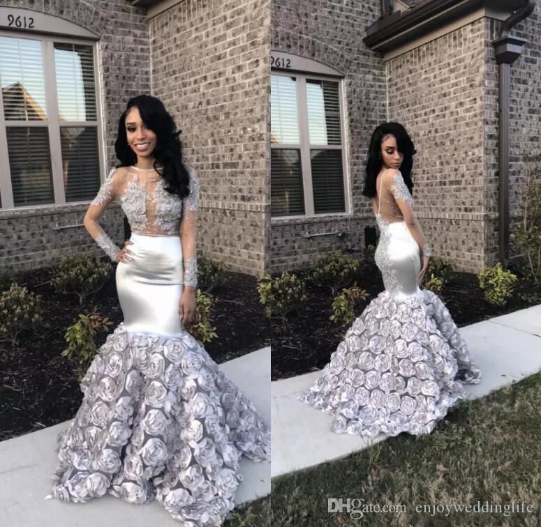 Silver 3D Floral Flowers Long Sleeves Prom Dresses 2019 Illusion Bodices Sheer Backless African Black Girls Evening Gowns Lace Appliqued