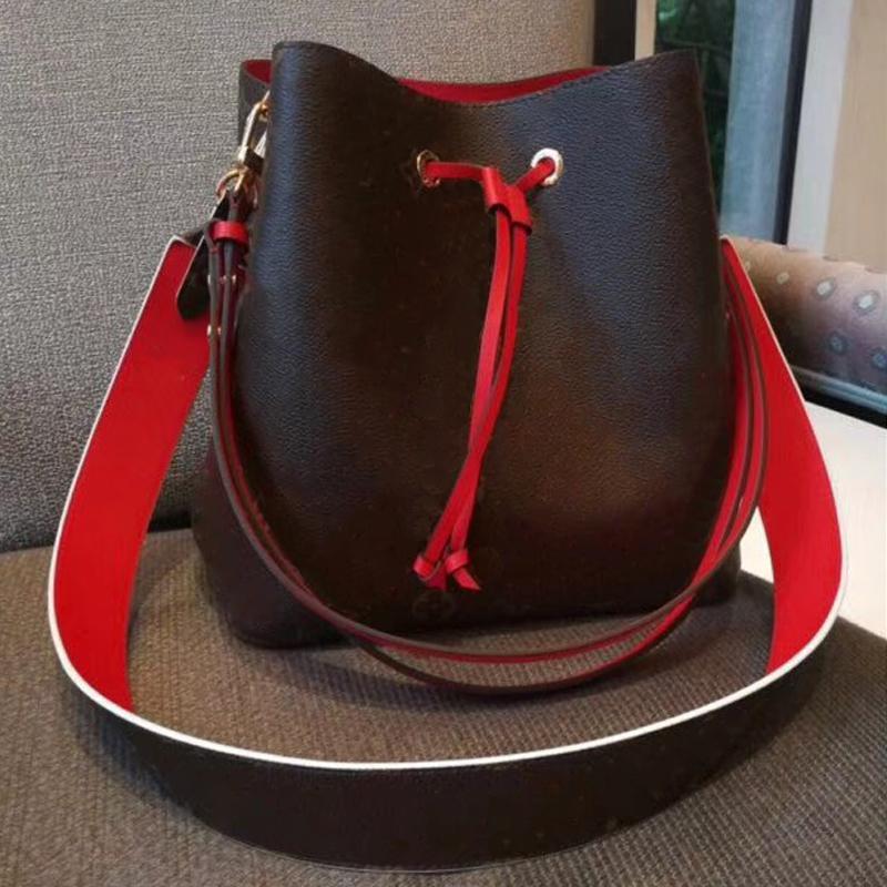 316edee49dff NEONOE Shoulder Bags Women Famous Brands Noé Leather Bucket Bag Luxury Designer  Handbags High Quality Flower Printing Crossbody Bag Purse Leather Purses ...