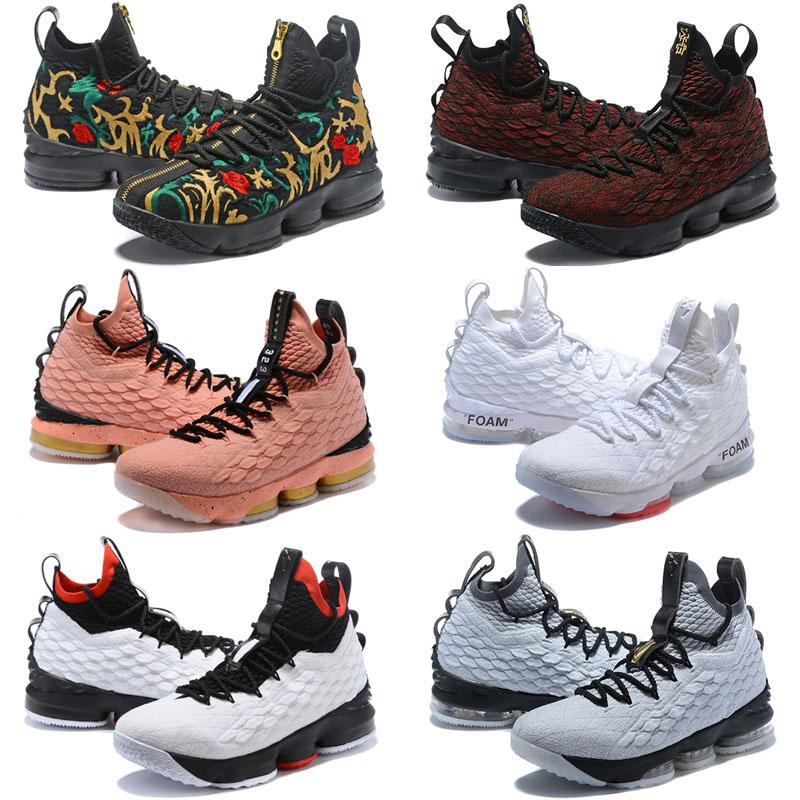 Monica Basketball Shoes Lebron James 15 Sports Black White Men Knight  Trainers Comfortable Sport Sneakers King 15s Discount PE 40---46 Casual  Shoes Online ... 9a2375fc6402