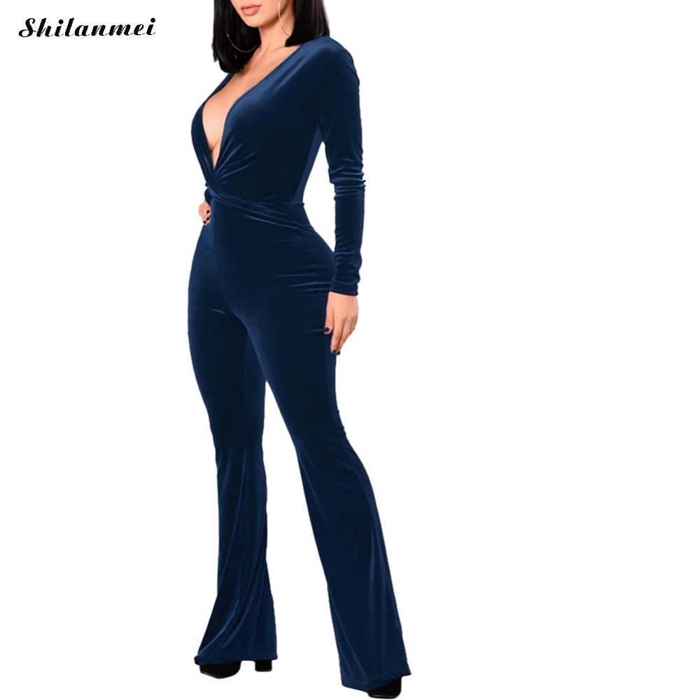 990dedb267a 2019 Sexy Women New Fashion Slim Bodycon Velvet Jumpsuit Long Sleeve Deep V  Solid Casual Bodysuit Ladies Vintage Romper Long Jumpsuit From Yigu110