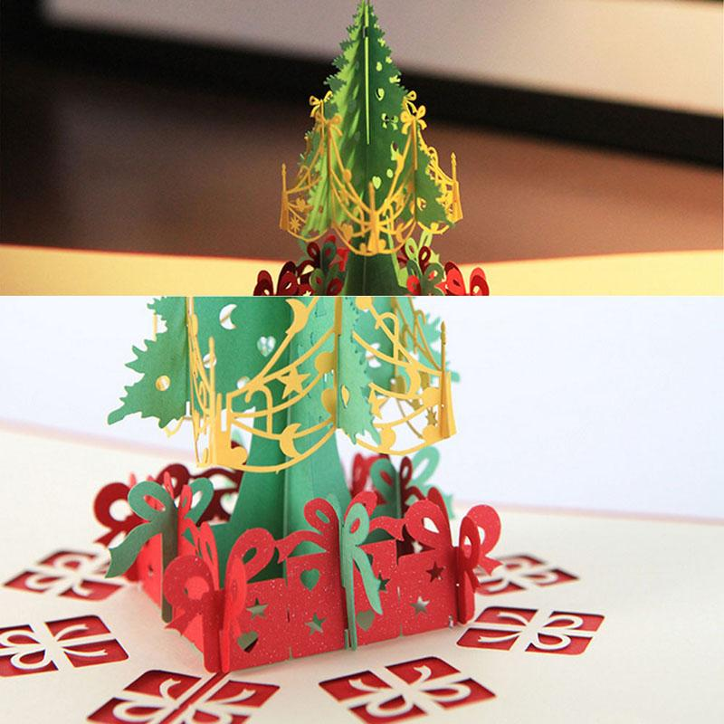 Wholesale 3D Pop Up Origami Greeting Christmas Cards Stereoscopic ...