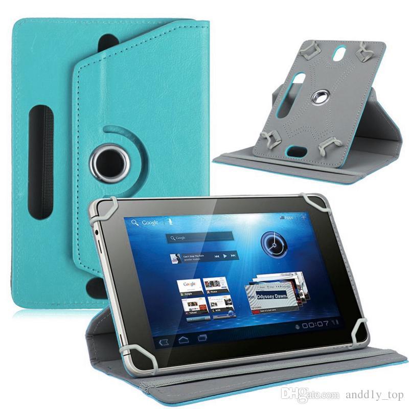 un passo indietro la copertura universale a 360 gradi tablet rotationg PU Custodia in pelle 7-9 pollici piega caso di vibrazione con la costruzione di fibbia