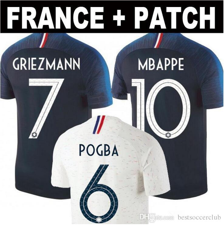 2019 2 Stars 2018 2019 World Cup Pogba Soccer Jersey Home Away 18 19 PAYET  DEMBELE MBAPPE GRIEZMANN KANTE National Team Football Shirts AWAY From ... f941ccd57