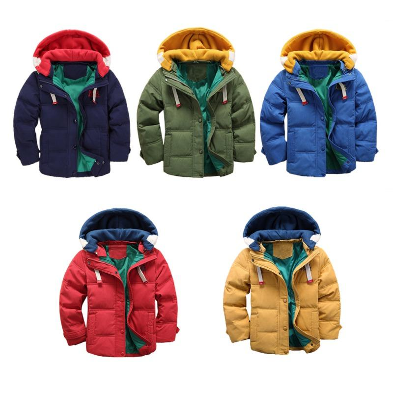 e5212a6f5c3c Autumn Winter Boy Solid Warm Outerwear Toddler Hooded Winter Quilted ...