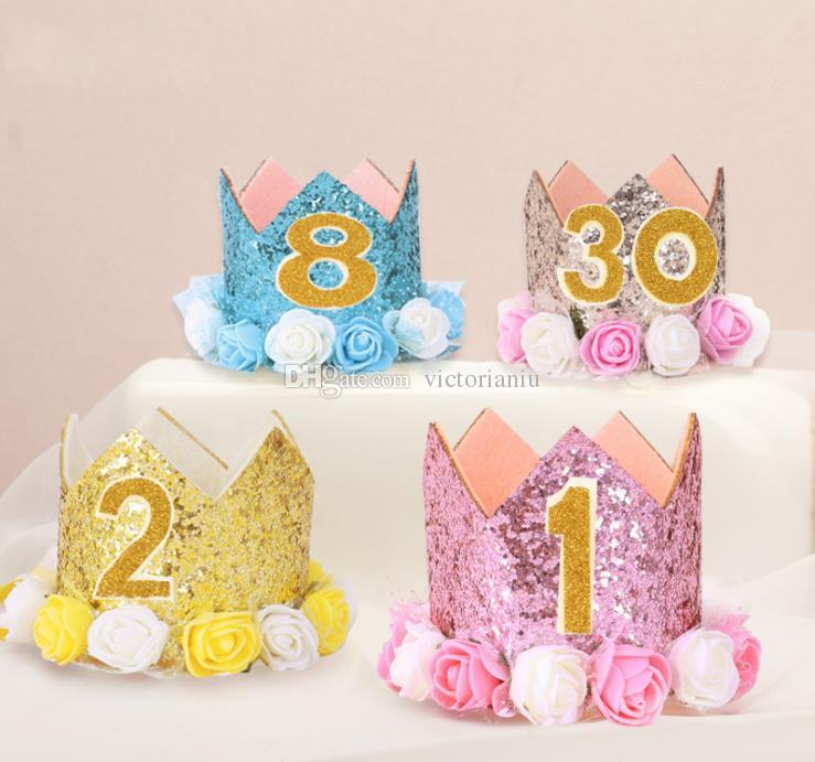 2019 Girl Boy First Birthday 1st Flower Priness Crown 2nd 3rd Baby Pink White Purple Hat From Victorianiu 028