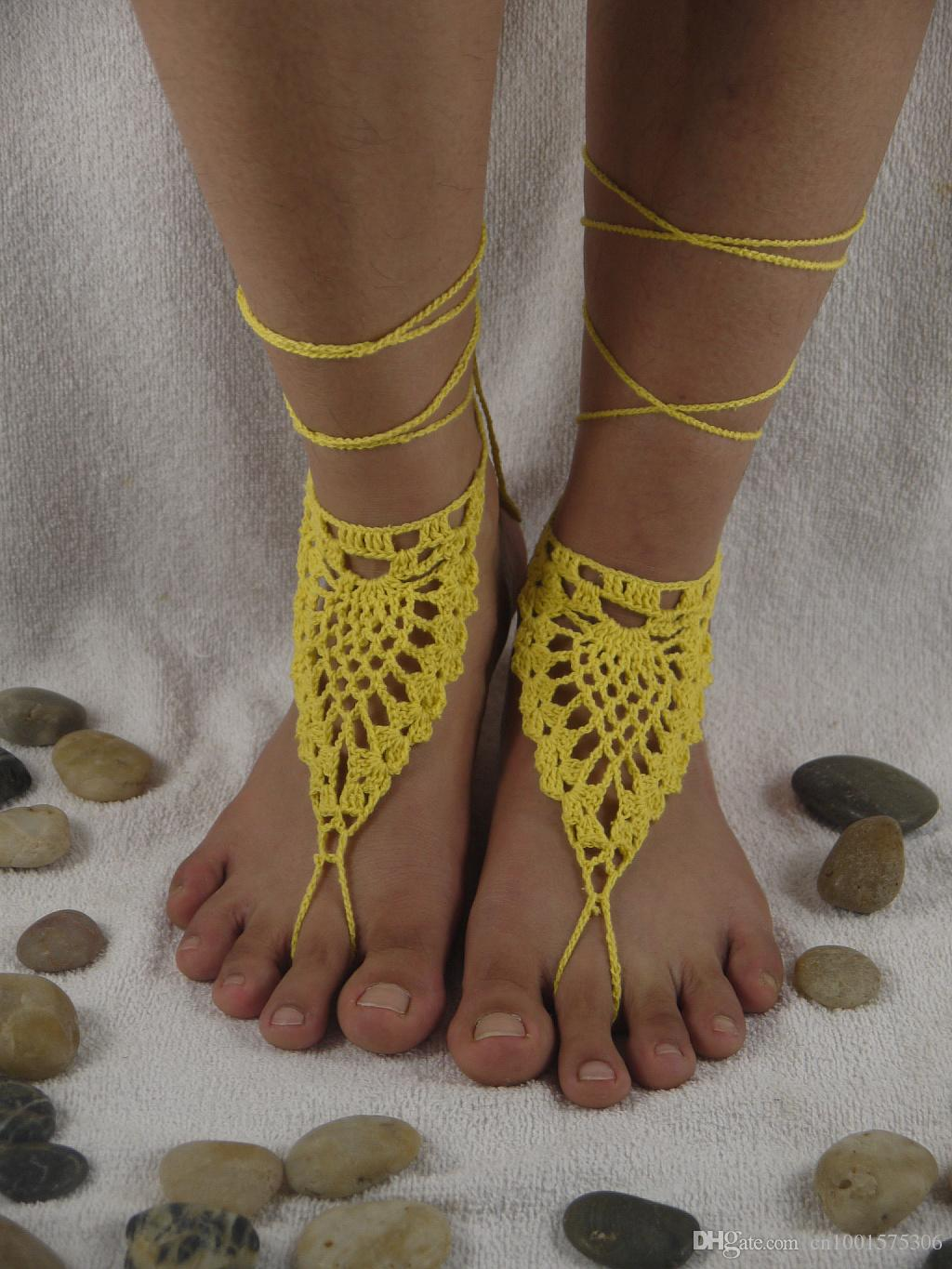 Victorian Lace pineapple flower Baby Blue Shoes Crochet Barefoot Sandals, Foot thongs, Beach Shoes, Sexy Wedding Accessory.
