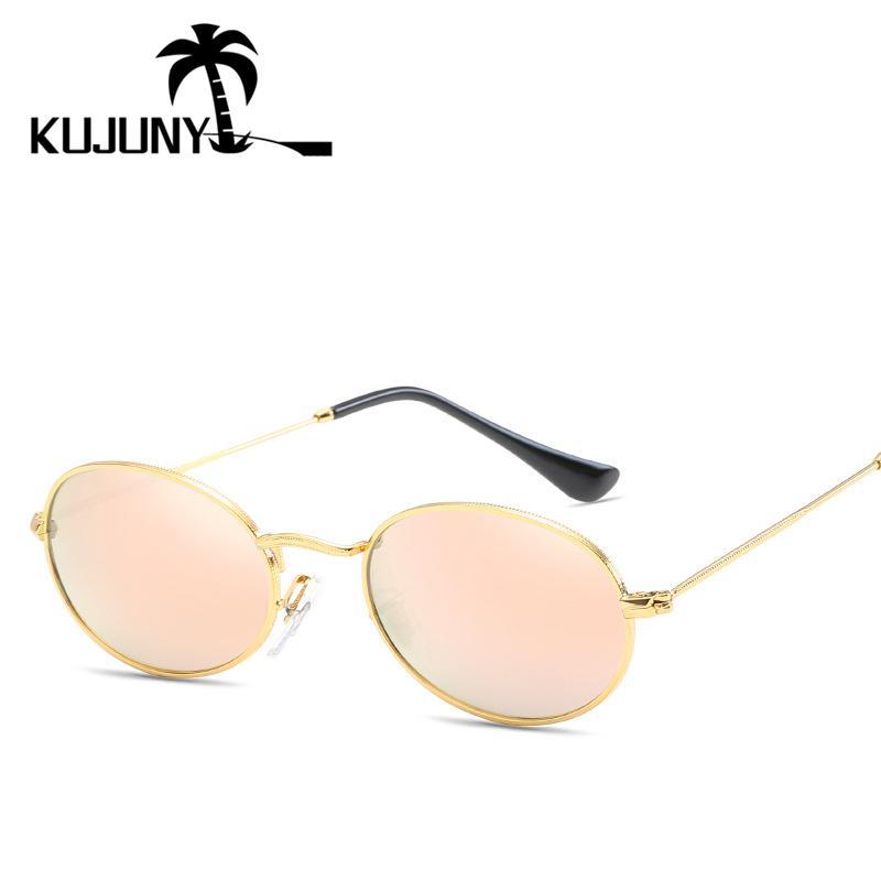 Compre Kunjuny Novo Na Moda Pequenos Óculos De Sol Redondos Mulheres Marca  Óculos Vintage Cor Filme Reflexivo Quadro De Metal Uv400 Lente Óculos De Sol  De ... c78dfdff48