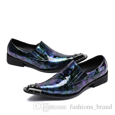 Moda Sapatos Masculinos Itália Estilo Apontou Sapatos De Vestido De Couro Genuíno De Couro Do Dedo Do Desenhador Do Negócio Roxo-Partido-Palco Sapato