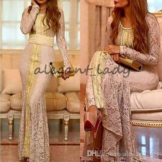 Fas Kaftan Tam Dantel Uzun Kollu Akşam Örgün Elbiseler 2018 özel Yapmak Altın Nakış Kaftan Dubai Abaya Arapça Amaçlar Gelinlik Elbisesi