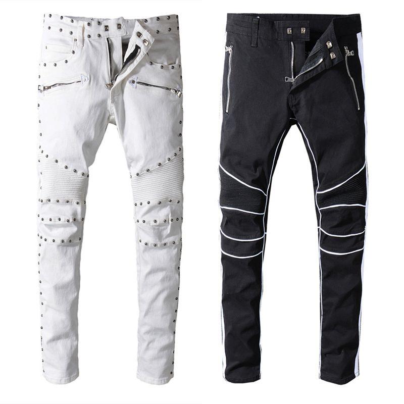 8a1cf03998 Compre 2019 Balmain Nueva Llegada Para Hombre Diseñador De La Marca Negro  Blanco Jeans Skinny Ripped Destroyed Stretch Slim Fit Hop Hop Pantalones  Con ...