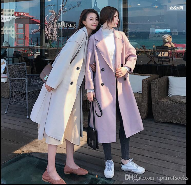 83327bb38 Women s Windbreaker 2018 Autumn Dress New Woolen Coat Korean Version ...