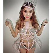 Big Crystals Colorful nice Jumpsuit Women's sexy Prom Costume Stage Wear Bodysuit Female Singer Rhinestones Nude Skinny Outfit