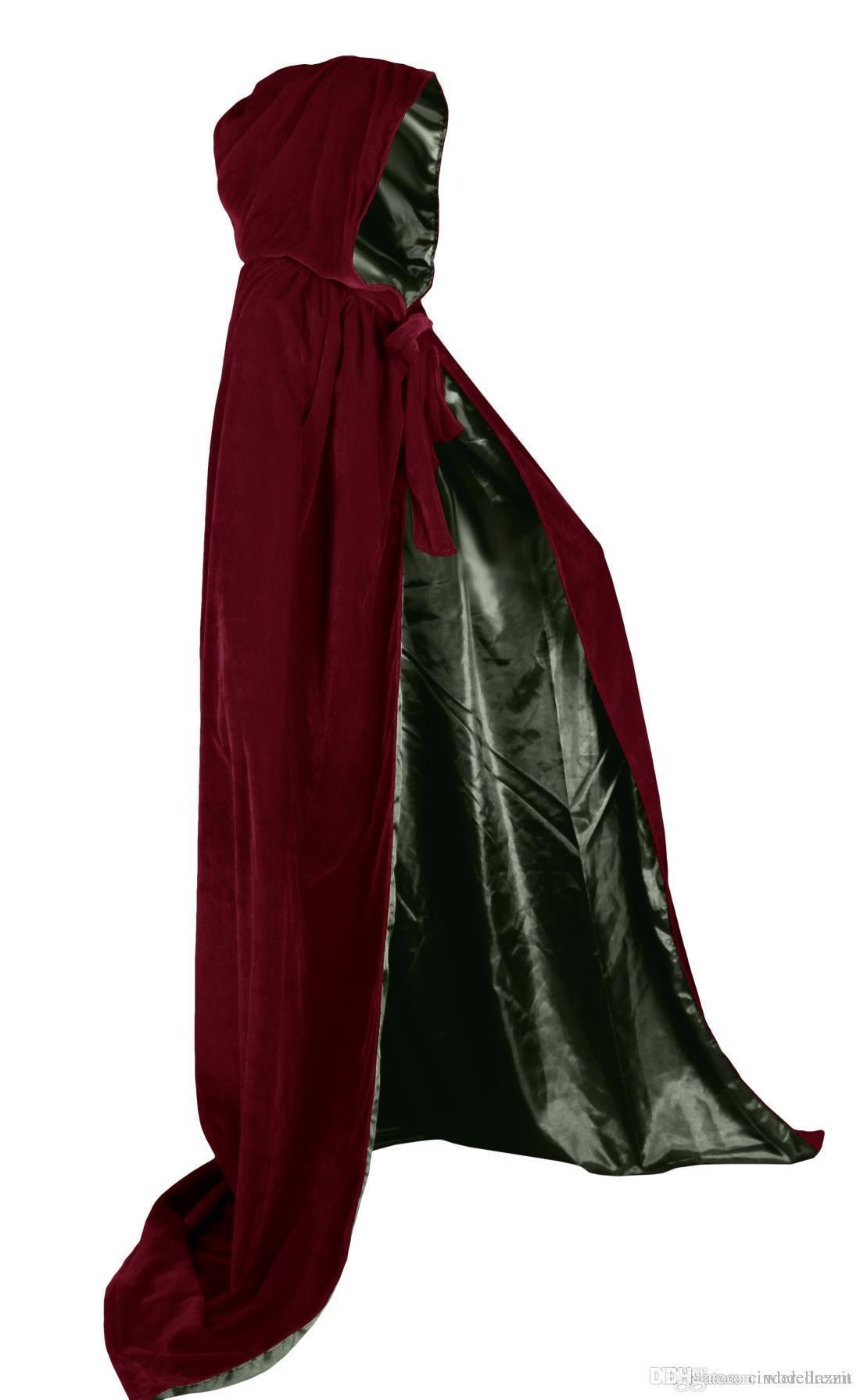 2019 Red Velvet Hooded Cloak Long Wedding Cape Halloween Plus Size S-XXL