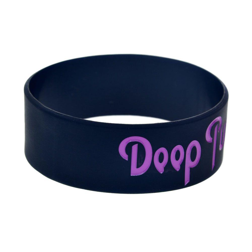 / Doop Violet Heavy Metal Music Band Bracelet En Silicone 1 Pouce Large Bracelet Encre Rempli Logo