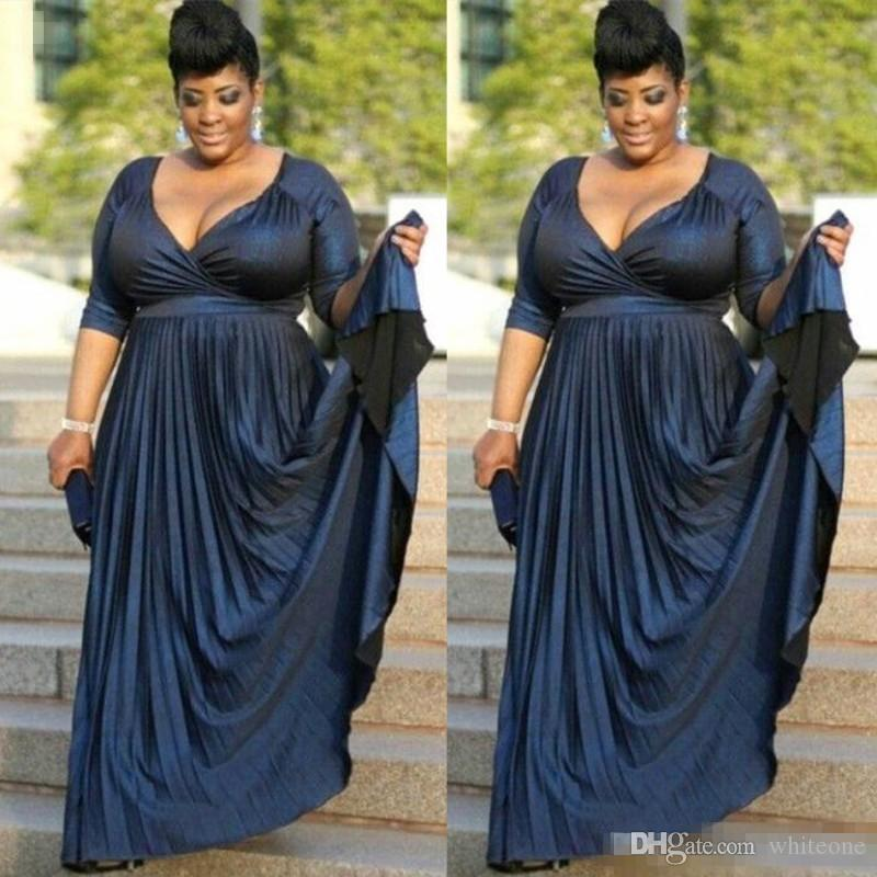 Plus Size Dark Navy Mother of Bride Groom Dresses Formal Occasion Wear Gowns Evening Dress Deep V Neck Half Sleeves Evening BA9084