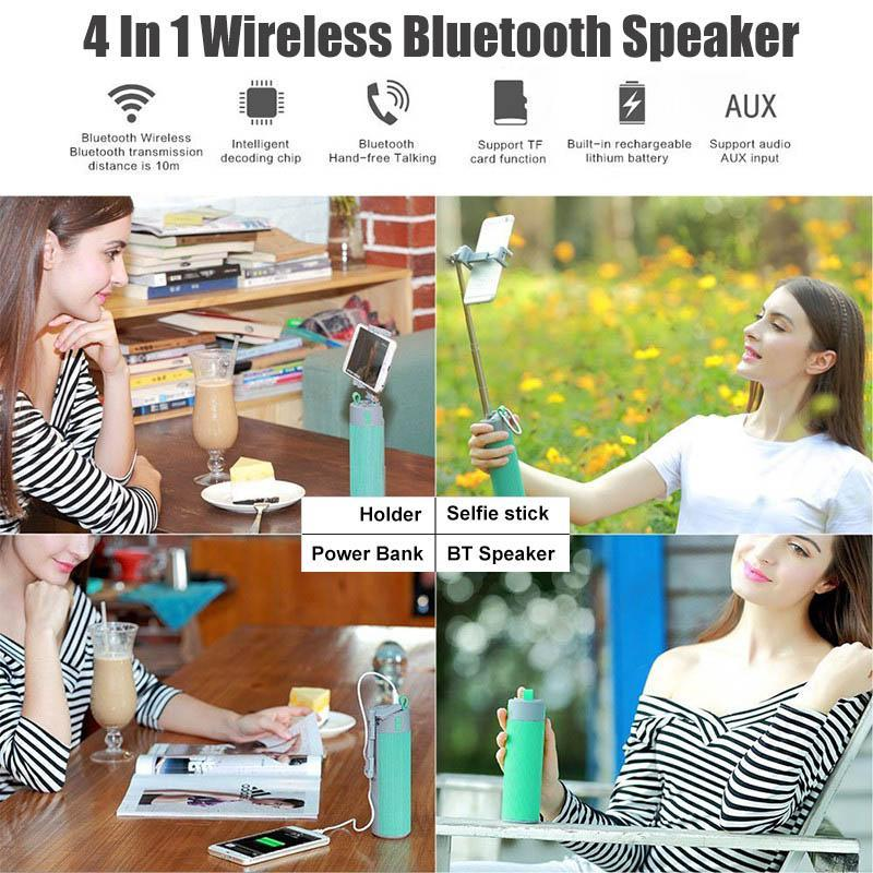 Selfie Stick Wireless Bluetooth Speaker power bank soporte de teléfono altavoz altavoz titular de bluetooth.
