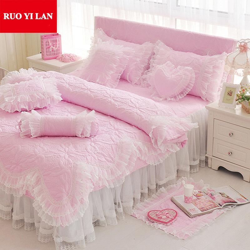 Pinkpurpleblue Jacquard Princess Bedding Set Silk Lace Ruffles