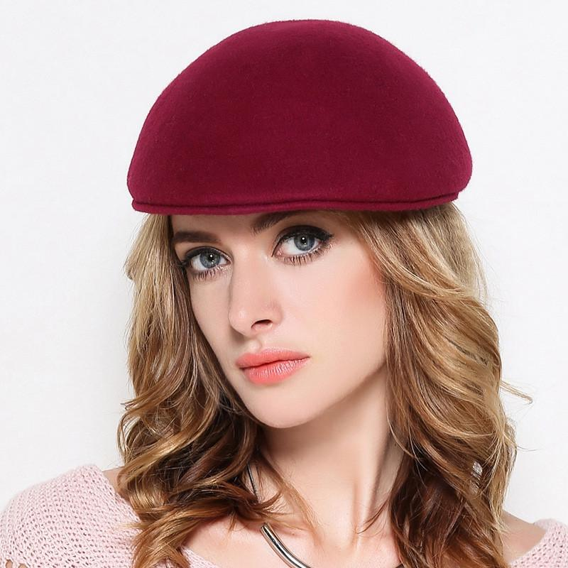 691dbcda2c823 2019 Female Gift Autumn And Winter Party Formal Headwear Lady Fashion Plain  Flat Peak Hat Cap Women 100% Wool Felt Beret Hats From Tonic