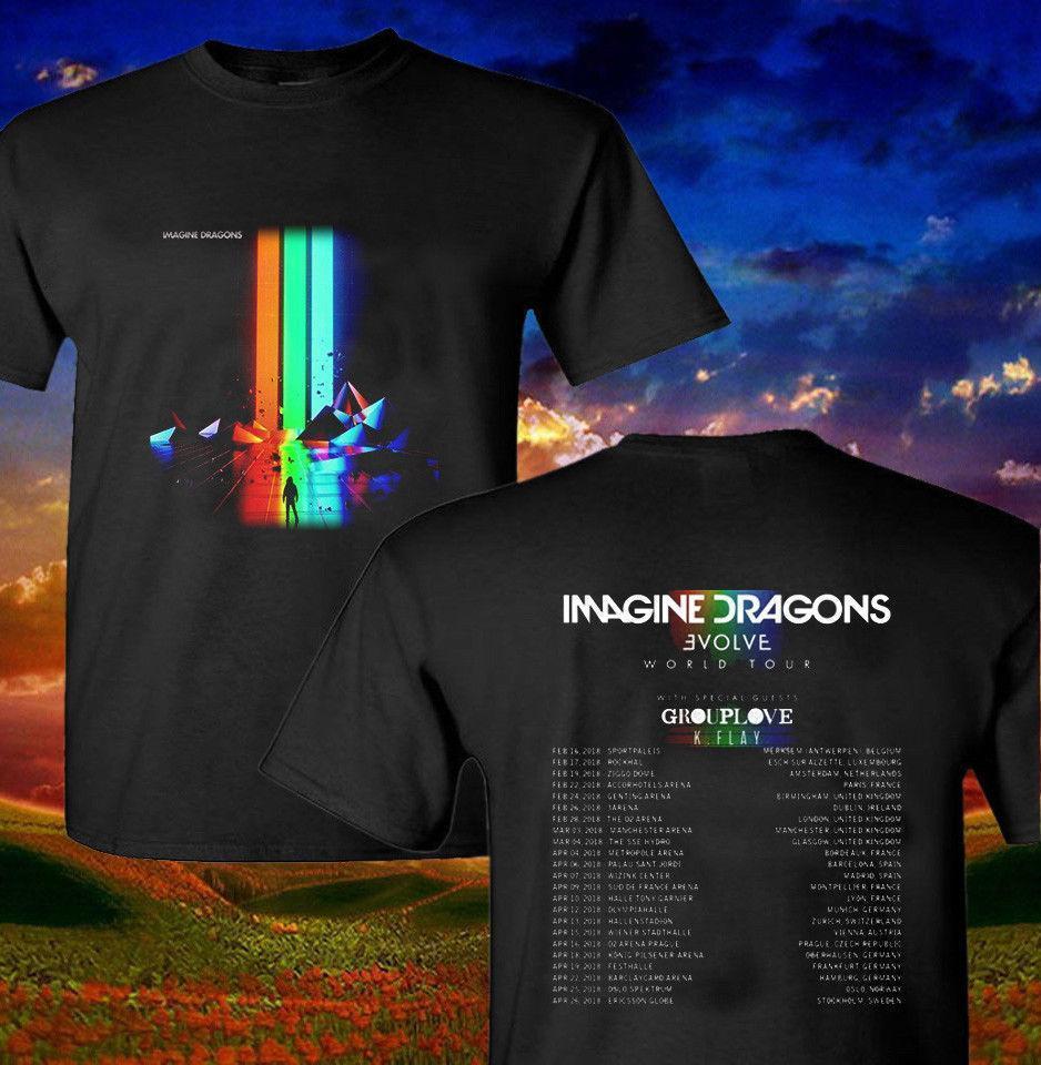 971efc49e9 Compre Imagine Dragon Evolve World Tour 2018 Camiseta Negra Unisex Talla S  Xxl A  12.08 Del Amesion2505