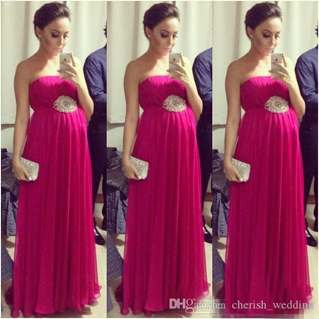 Fuchsia Empire Pregnant Prom Dresses 2017 Strapless Sleeveless Pleated Maternity Women Evening Formal Dress Red Carpet Celebrity