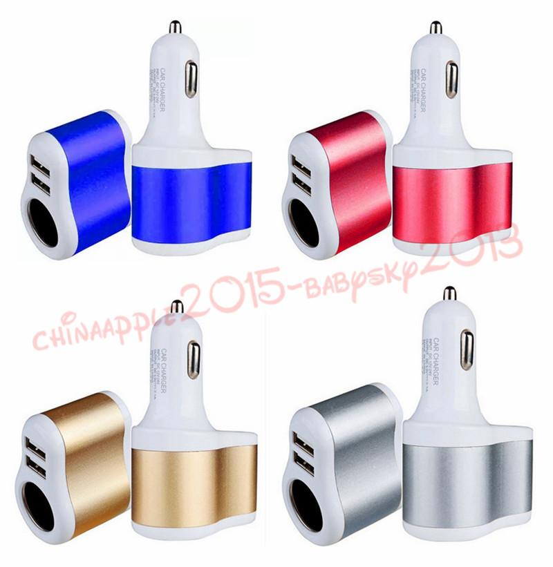 car charger Universal 2 Ports Dual USB One Way Car Cigarette Lighter Power Socket Charger Adapter for iphone 5 6 7 for samsung pc