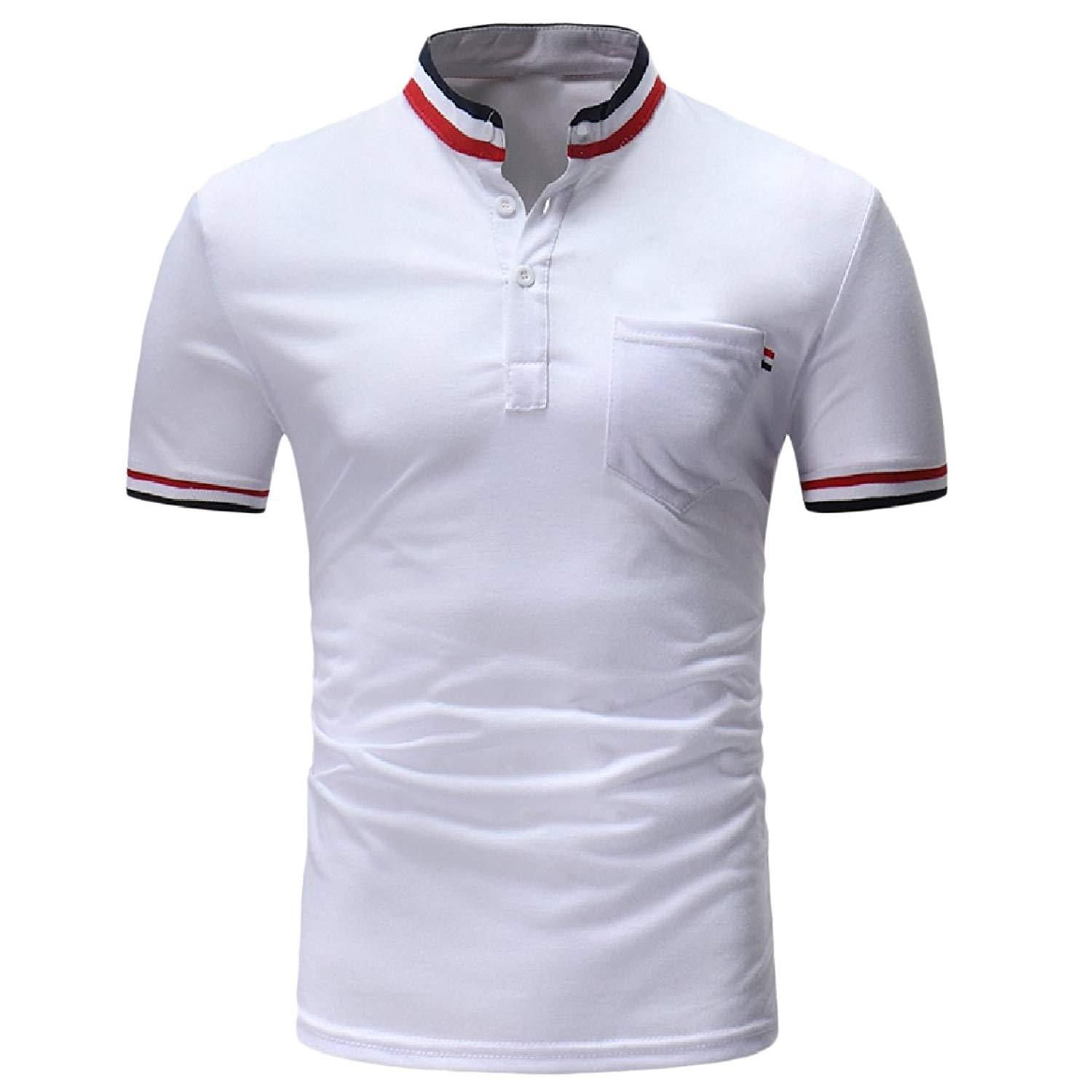 ee0f3717309 Men S Short Sleeve Polo Vogue Stand Up Collar Casual Dress T Shirt ...