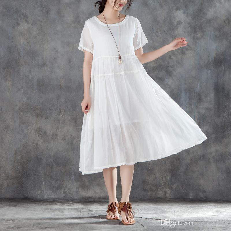 d806c1da8cb 2018 Buykud Brand Summer New Arrival Round Neck Short Sleeve White Dress  For All And 10% OFF For Order Over 500USD Vintage Dress Ball Gown From  Buykud588