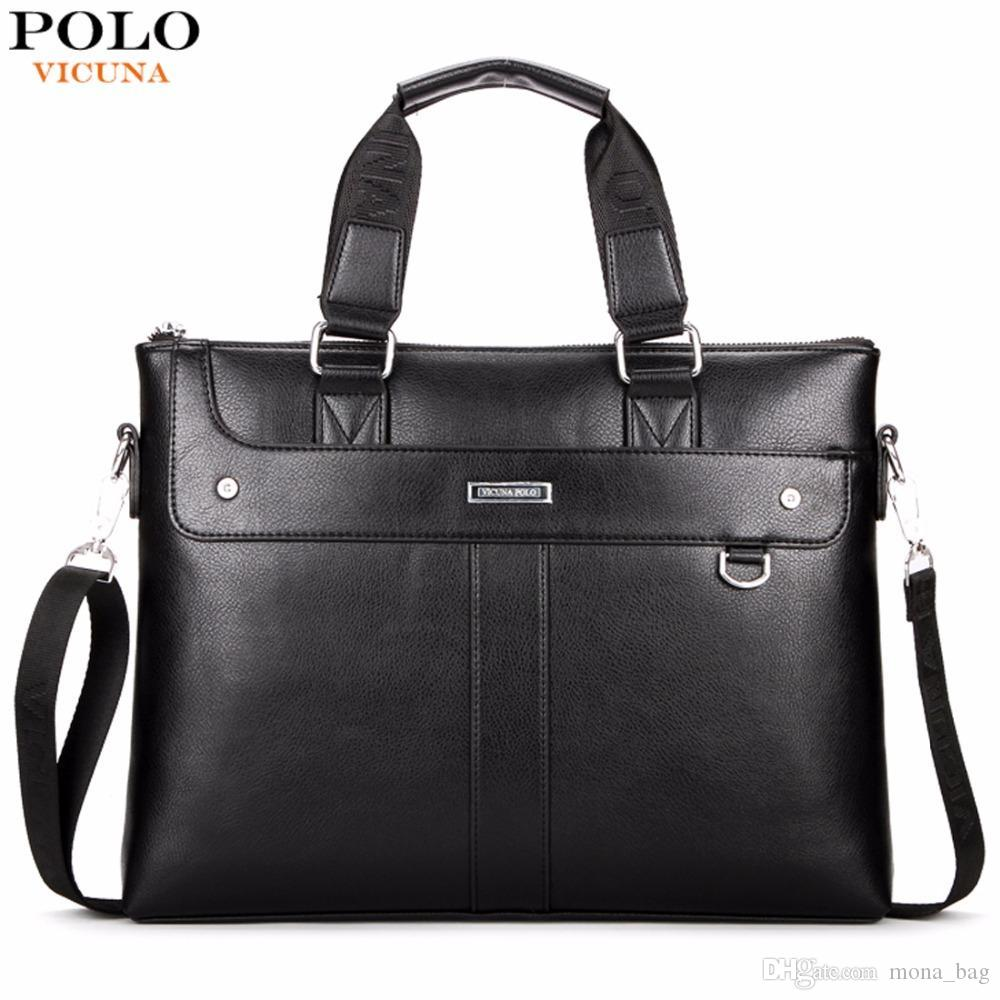 8aae3028fef VICUNA POLO Classic Business Man Briefcase Brand Computer Laptop Shoulder  Bag Leather Men's Handbag Messenger Bags Men Bag Hot Briefcase Bag Laptop  Bag ...