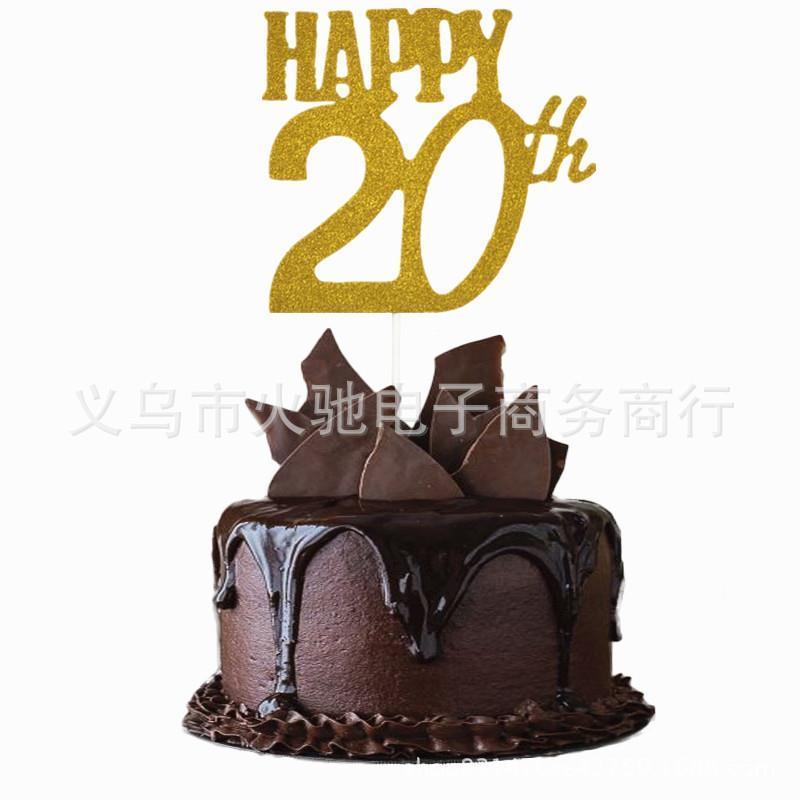 Happy 20th Birthday Cake Topper Custom Name Cake Topper 20th Unique Topper Personalized 20th Anniversary Topper