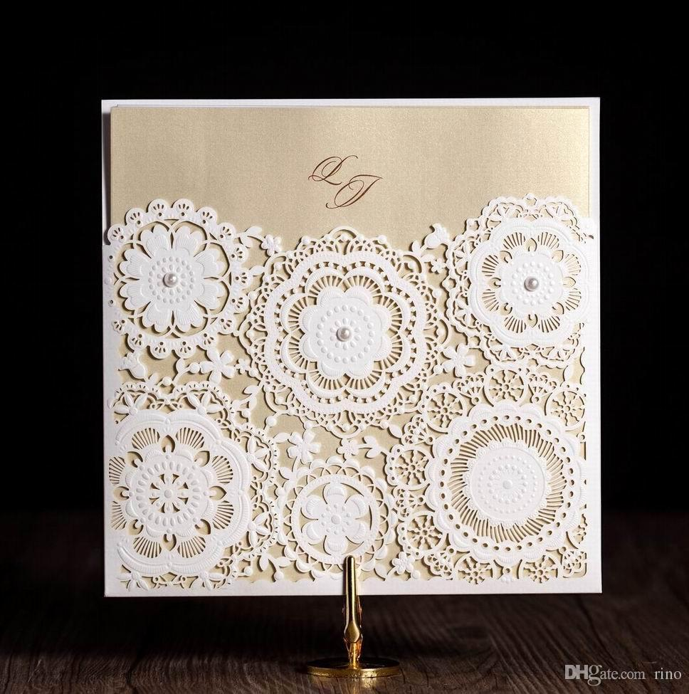 Laser Cut Wedding Invitations Cards Flower Wedding Invitaitons Paper ...