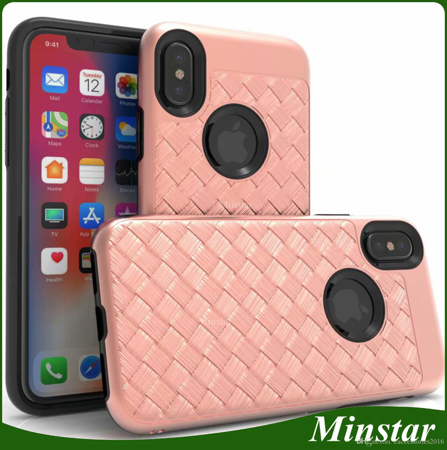 Popular Fashionable Hybrid Weave Streak Phone Case For Iphone X Xs 5 8inch Xs Max 6 5 Xr 6 1 8 Plus 7 6s Cheap Braid Striae Knit Cover Cases Cool Cell Phone