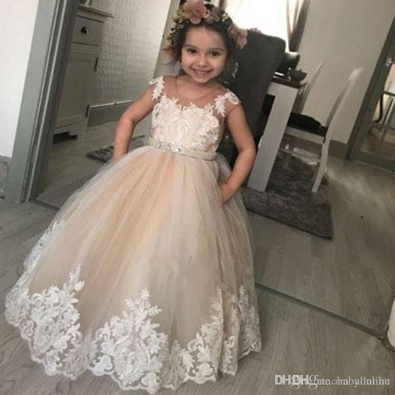 a90908e08ef 2018 Lovely Champagne Flower Girl Dresses For Wedding Kids Ball Gown  Appliques Toddler Kids Birthday Party Communion Dresses Robes De Fête  Dresses For ...