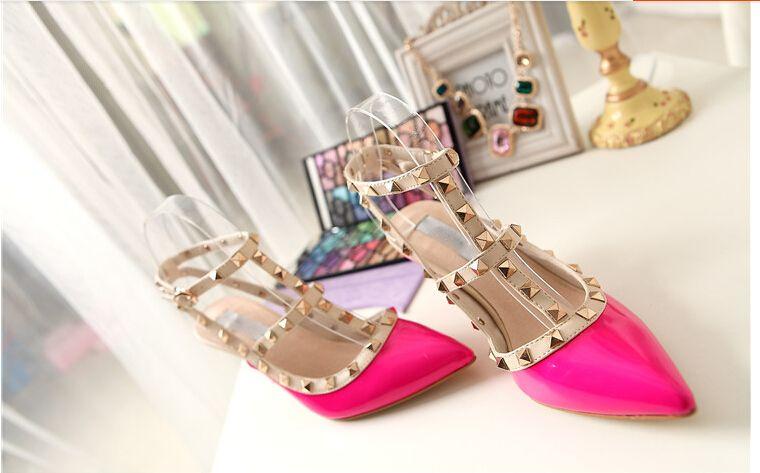 Lackleder Frauen Stud Sandalen Point Toe 2018Valentino Zwei Knöchel Schnallen Damen Sexy High Heels Neon Farbe Kleid Schuhe Hochzeit Sandalen